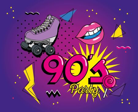 nineties lettering with retro icons vector illustration design