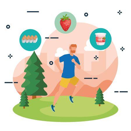 man running sport with eggs and strawberry with yogurt to healthy food, vector illustration Illusztráció