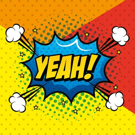 yeah expression with explosion pop art style vector illustration design