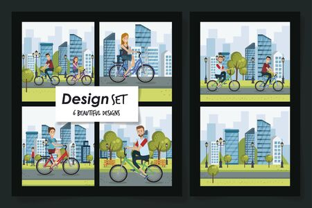 six designs of healthy lifestyle scenes and young people vector illustration design Ilustrace
