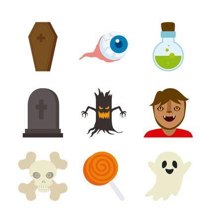 bundle halloween with set icons vector illustration design Vettoriali