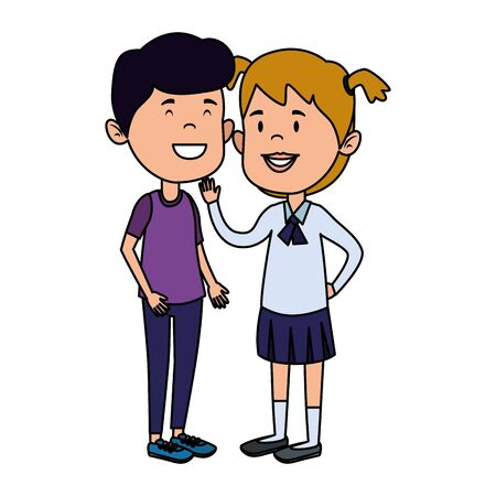 happy little students couple characters vector illustration design Иллюстрация