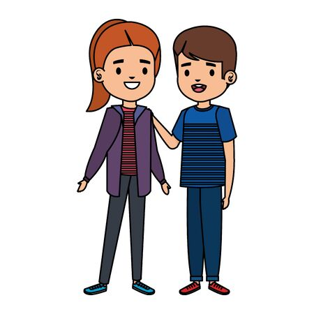 cute little kids couple characters vector illustration design