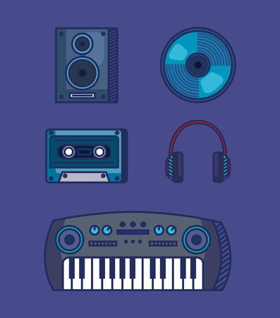 set of stereo with cd and cassetter with headphones and piano over blue background vector illustration Ilustração Vetorial