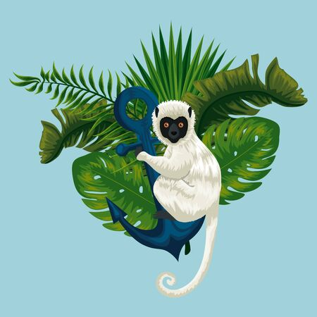 lemur with anchor and exotic leaves plants vector illustration