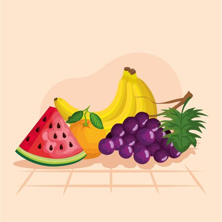 Grapes watermelon orange and banana design, Fruit healthy organic food sweet and nature theme Vector illustration