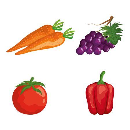 set of fresh vegetables nutrition and fruit over white background, vector illustration