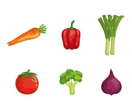 Satz frisches Gemüse gesunde Ernährung auf weißem Hintergrund, Vektorillustration