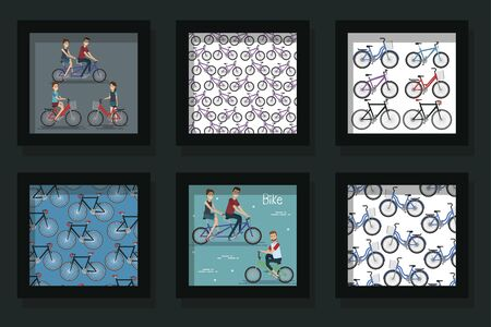 bundle of scenes young people and bikes vector illustration design Ilustrace