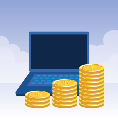 coins money dollars with laptop vector illustration design