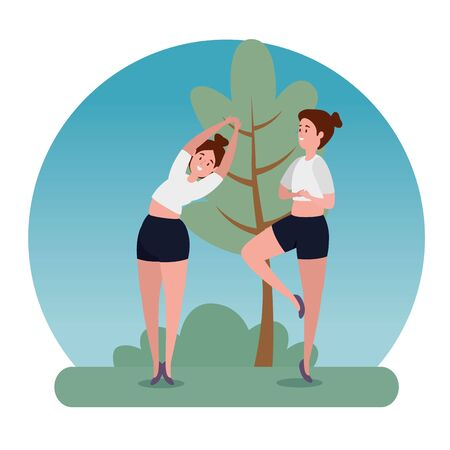 exercise women practice yoga pose with tree and bush plant, vector illustration