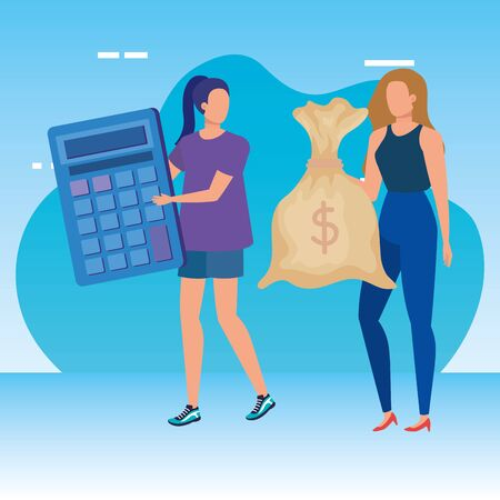young women with calculator math and money sack vector illustration design