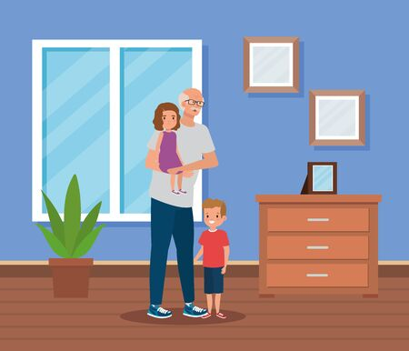 cute grandfather with his granddaughter and grandson kids in the home, vector illustration