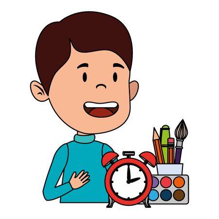 happy student boy with alarm clock and supplies vector illustration design Çizim