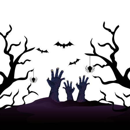 hands of zombie for halloween with bats flying vector illustration design