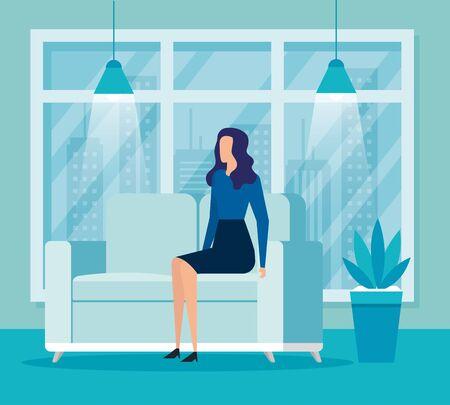 elegant businesswoman worker in livingroom vector illustration design