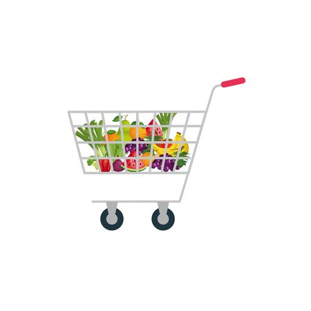 Shop cart with products design, Store market shopping commerce retail buy and paying theme Vector illustration