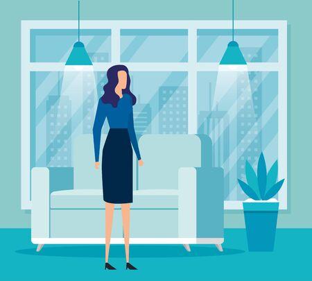 elegant businesswoman worker in livingroom vector illustration design Reklamní fotografie - 137748197