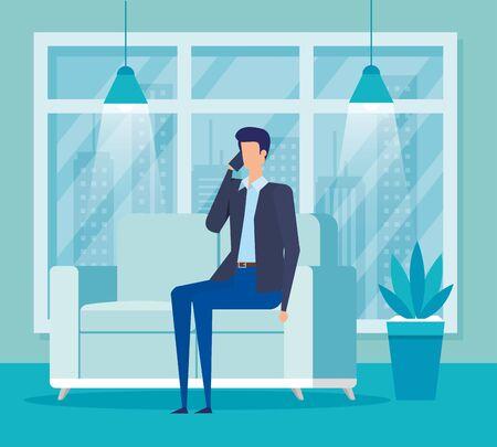 businessman worker calling with smartphone in the livingroom vector illustration Reklamní fotografie - 137748199