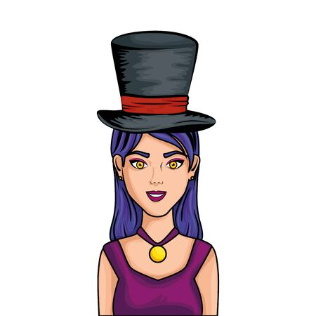 young woman with hat wizard style pop art vector illustration design