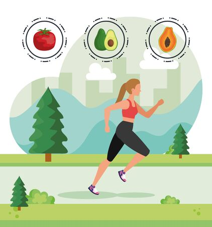 woman running practice with fruits and tomato to healthy food, vector illustration Illusztráció