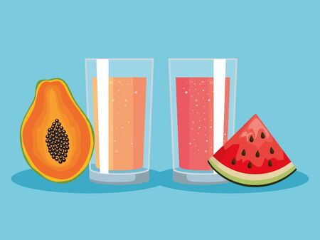 fresh pawpaw and watermelon fruits with juice nutrition to healthy food vector illustration Ilustração