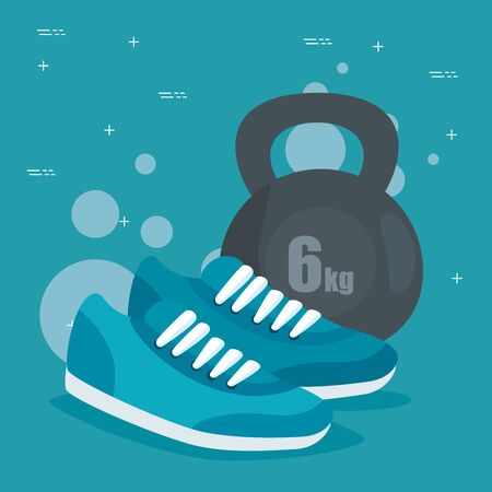 weight with shoes to sport exercise activity over blue background, vector illustration