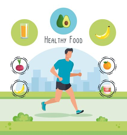 man running sport with yogurt and fruits with vegetables to healthy food, vector illustration Illusztráció