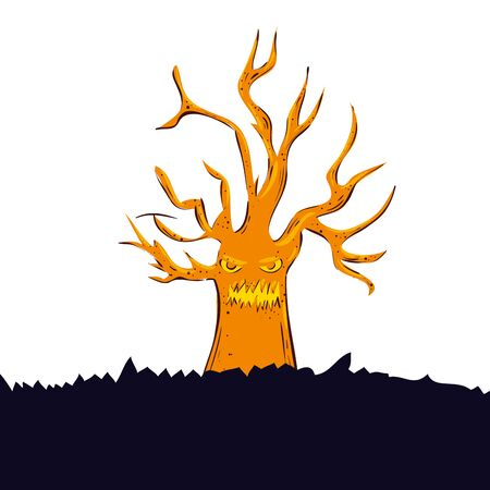 haunted dry tree isolated icon vector illustration design