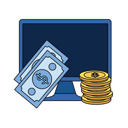 coins and bills money dollars with desktop vector illustration design
