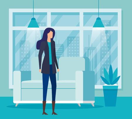 elegant businesswoman worker in livingroom vector illustration design Reklamní fotografie - 137776824