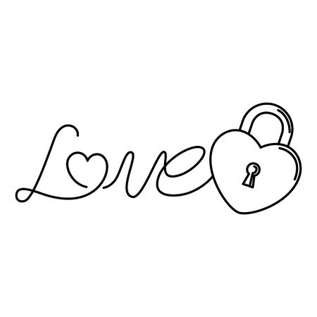 love label with padlock isolated icon vector illustration design