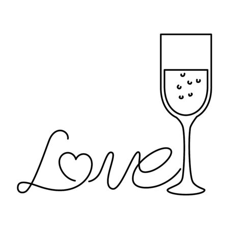 love label with cup glass isolated icon vector illustration design