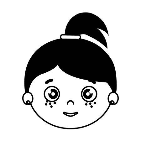 silhouette of head of girl on white background vector illustration design Ilustração