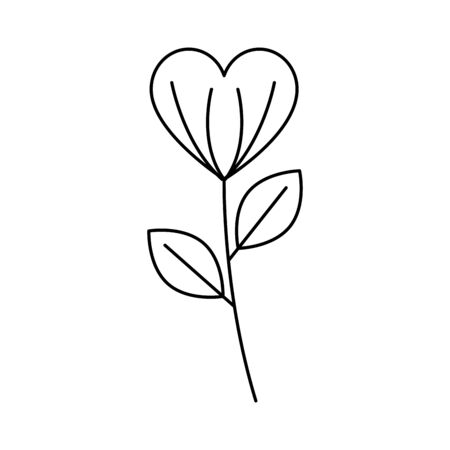 silhouette of flower with leafs on white background vector illustration design Ilustrace