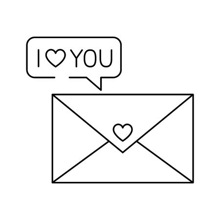 silhouette of envelope closed with i love you lettering vector illustration design