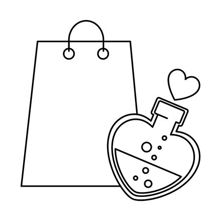 silhouette of bottle with heart shaped and bag shopping vector illustration design