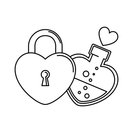 silhouette of bottle with heart shaped and padlock vector illustration design