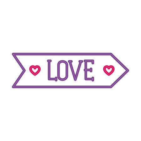 love label in neon light, valentines day vector illustration design Ilustrace