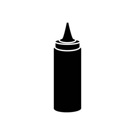 silhouette of delicious sauce in bottle isolated icon vector illustration design  イラスト・ベクター素材