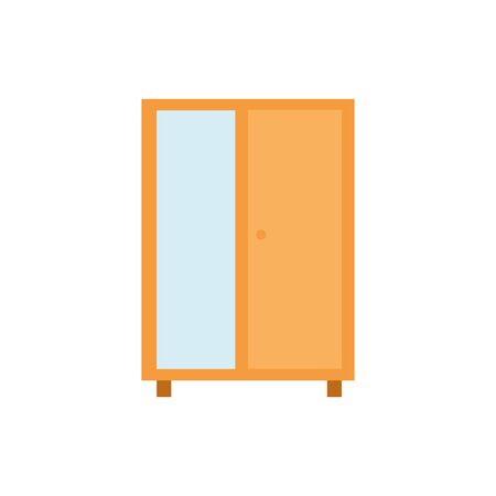 wooden closet furniture with mirror vector illustration design