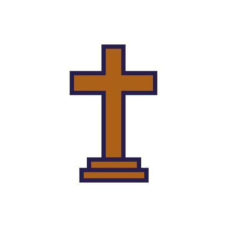 Holzkreuz religiösen isolierten Symbol Vektor Illustration Design