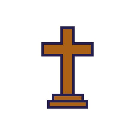 wooden cross religious isolated icon vector illustration design  イラスト・ベクター素材