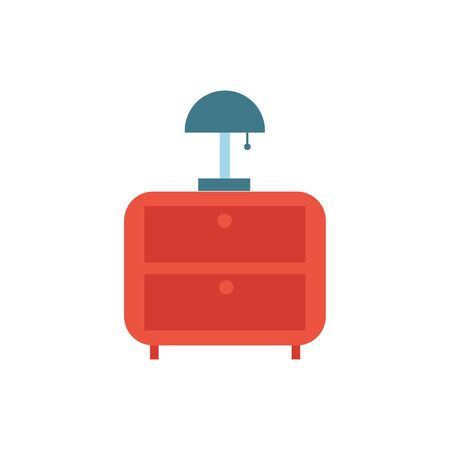drawer wooden with lamp furniture isolated icon vector illustration design