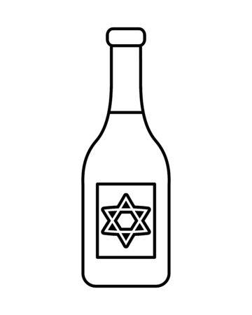 happy hanukkah celebration wine bottle vector illustration design Çizim