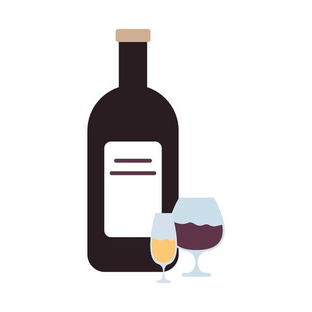 wine bottle and cups drink isolated icon vector illustration design