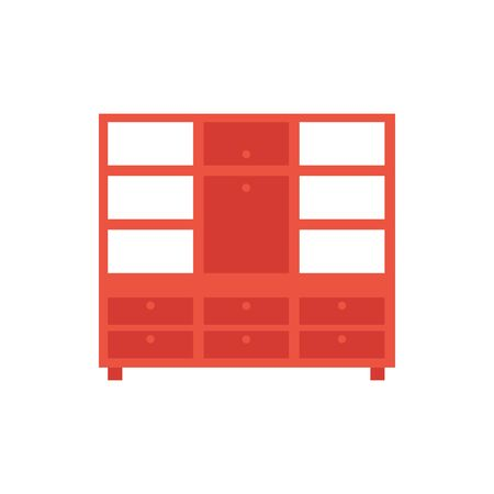 wooden cupboard furniture isolated icon vector illustration design