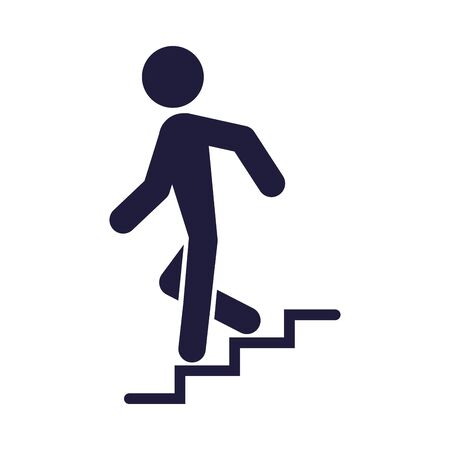 silhouette human going down the stairs signal vector illustration design