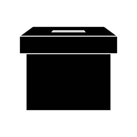 silhouette of ballot box carton isolated icon vector illustration design  イラスト・ベクター素材