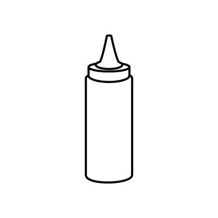 delicious sauce in bottle line style icon vector illustration design Ilustração